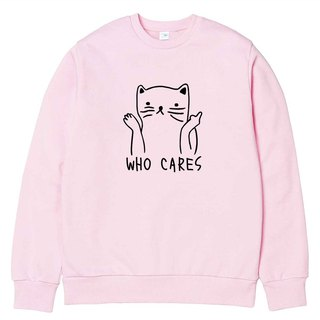 Who Cares Cat #2 pink sweatshirt
