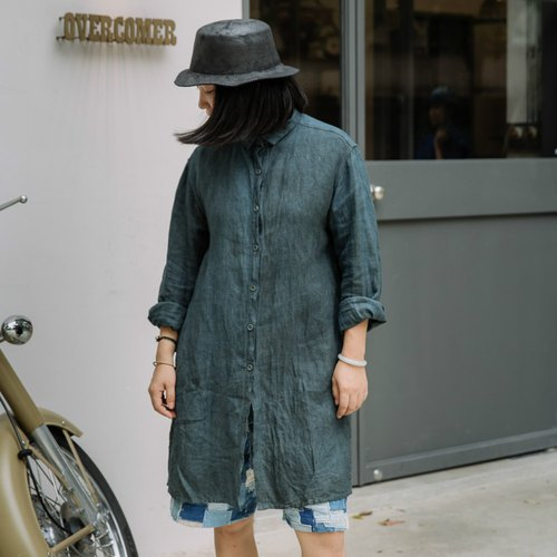 Inclusive | Indigo natural plant dyed men and women can wear 100% hemp raw material long face long-sleeved spring shirt very special color multiple plant dyeing | NAMSAN