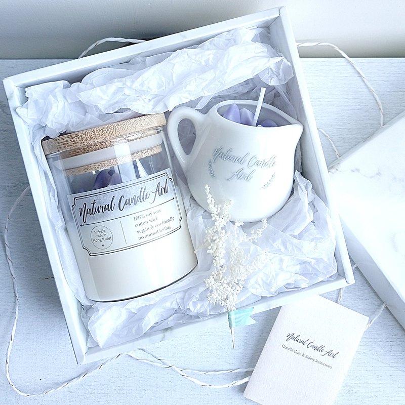 水晶原石 2件禮盒裝 | 天然精油香氛大豆蠟燭 薰衣草 | 生日禮物