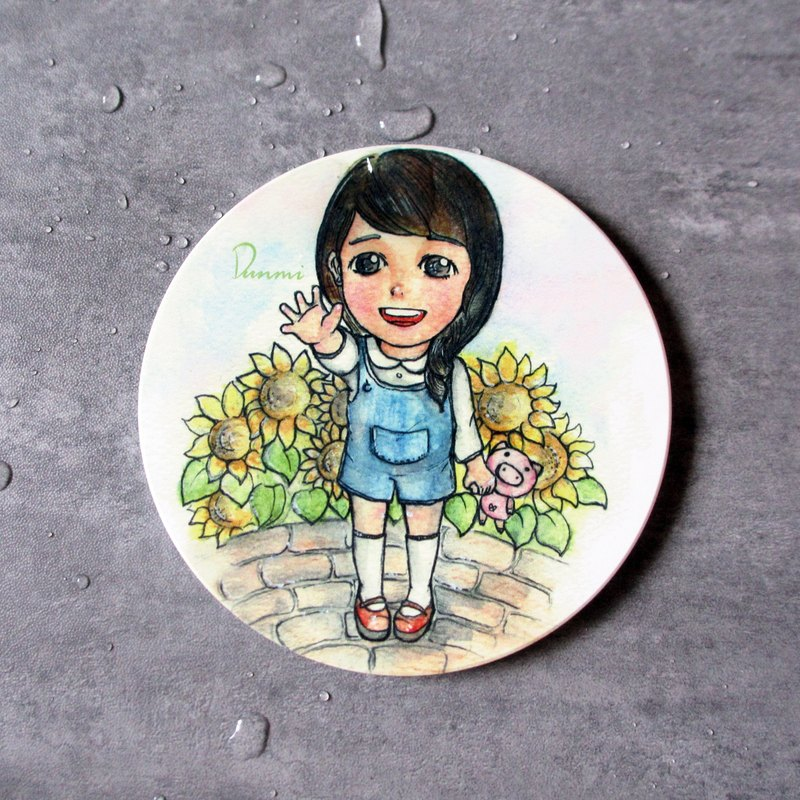 DUNMI other rice / ceramic coaster / original design - sunflower girl