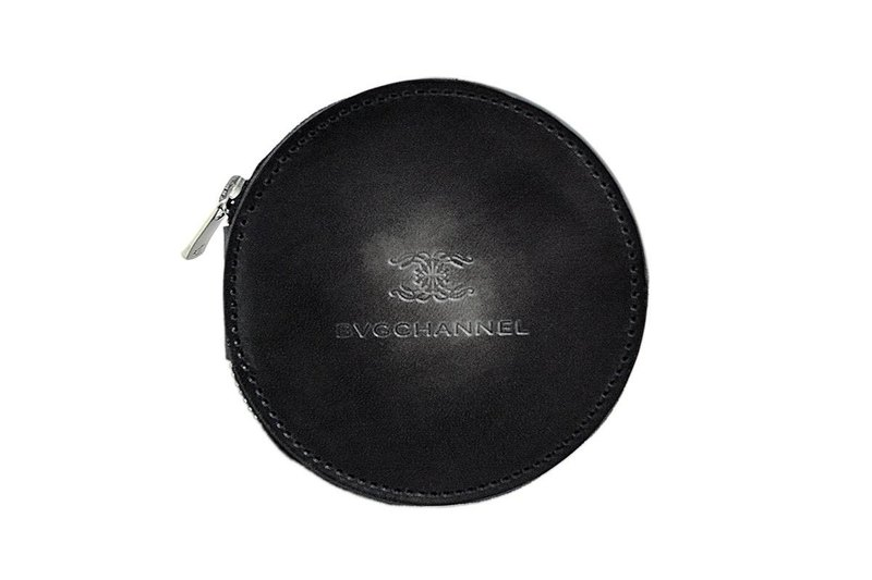 Acromo black circle coin case / round coin purse black uneven dyed genuine leather
