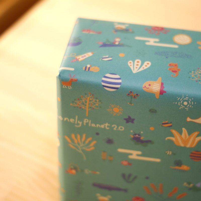 寂寞星球 包裝紙 - 綠色 海洋太空派對 - 10張雙面A2