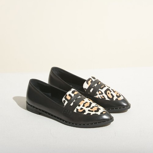 Pointy-toe Loafers | Black / Leopard