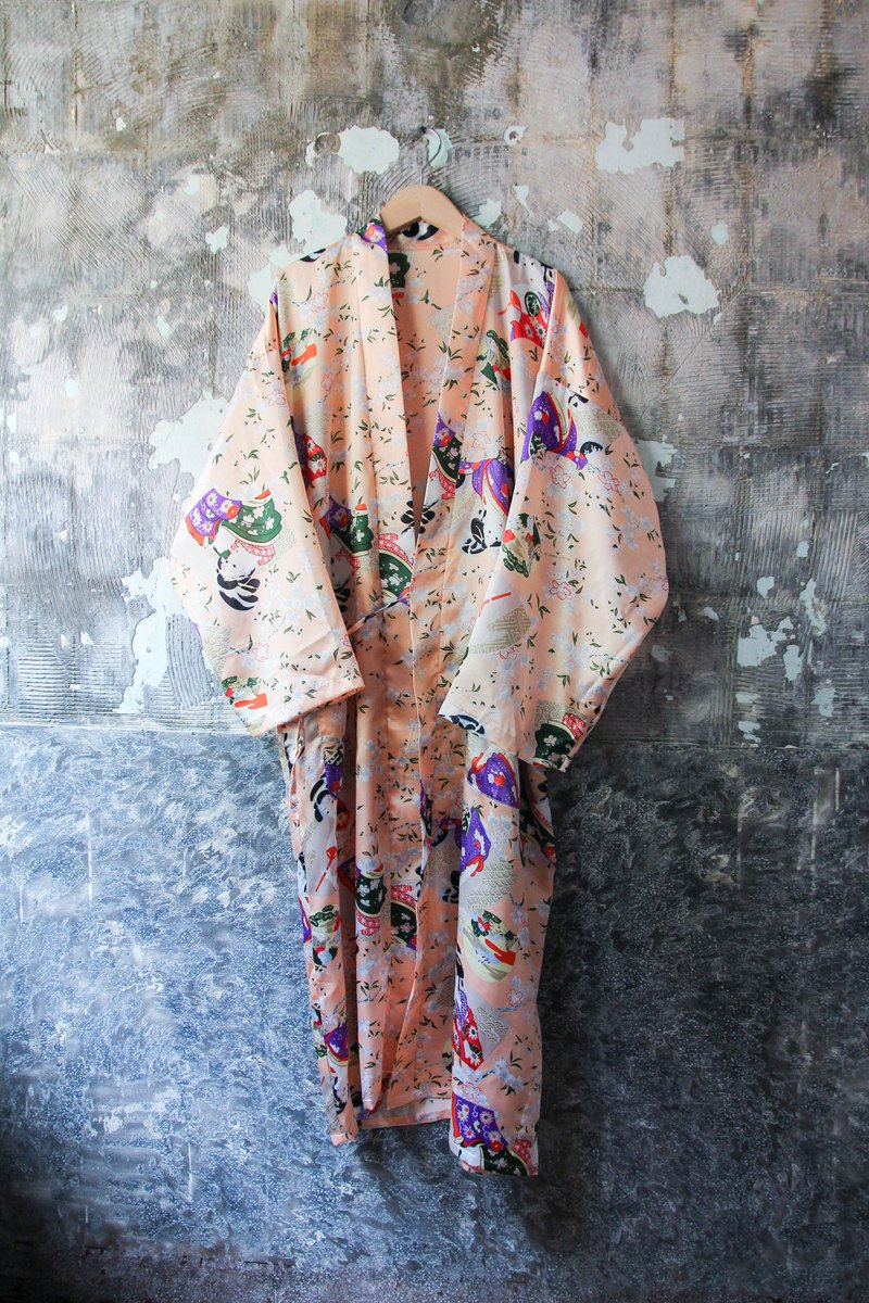 袅袅 department store -Vintage satin pink geisha pattern blouse retro