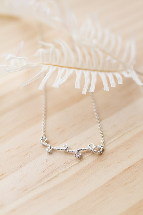 Small branch sterling silver necklace