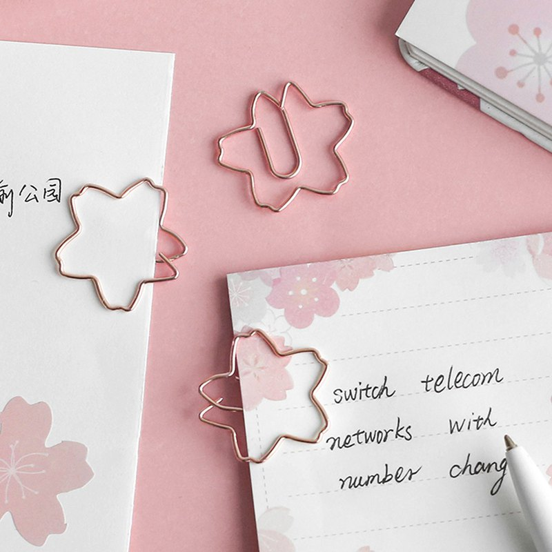Letter lover paper clip plant series metal bookmark cactus cherry blossom ins wind simple mark reading