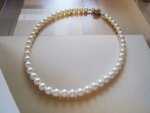 Silky Pearl Necklace<8mm:White>Bridal*