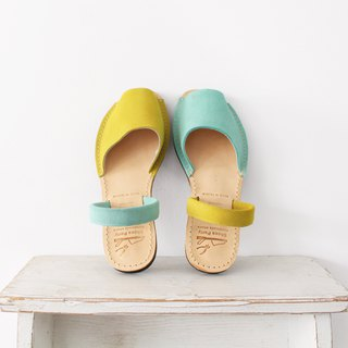 [24.5 immediately shipped] manual minimalist open toe sandals - yellow x apple green / S2-15430L