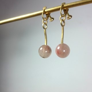 BZ 52: brass clip earrings with pink quartz