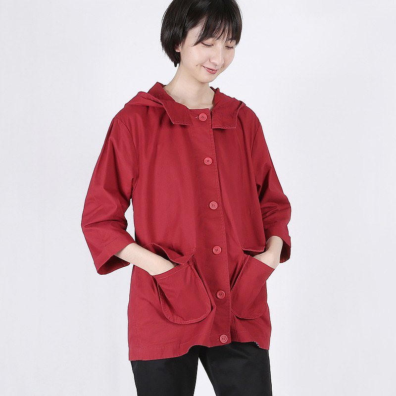 a la sha + a simple three-dimensional big pocket 3/4 sleeve hooded jacket