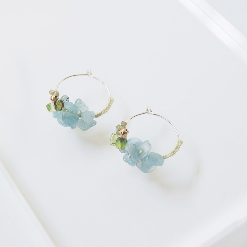 Summer Prehnite / Olivine / Aquamarine Crystal Gemstone Silver Earrings