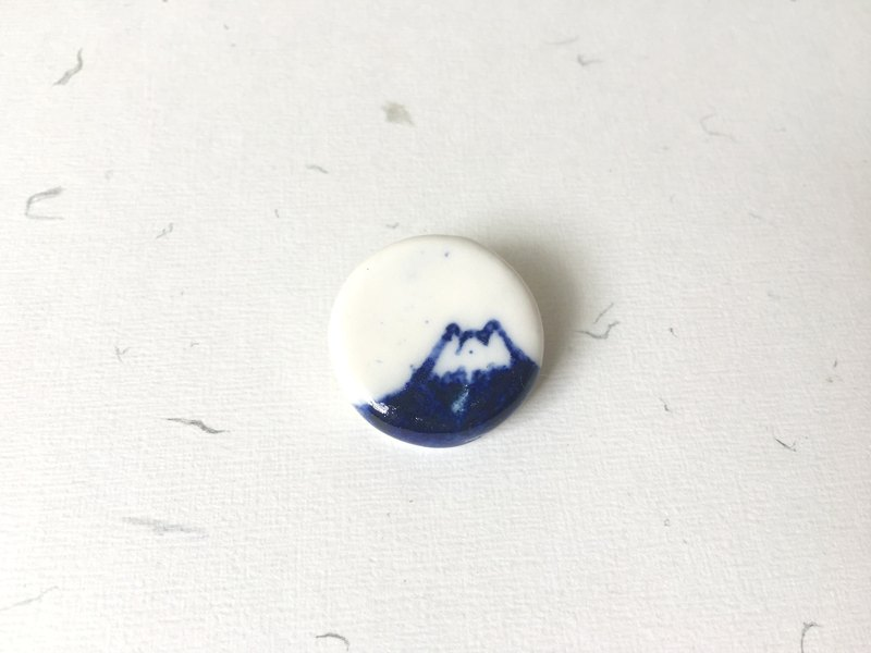 Blue and White Porcelain Mountain Ceramic Brooch- Navy / Blue / Mount Fuji/ Mountain / Hill/ Natural