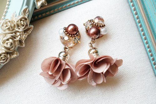 Flower Dance - Crystal Gems Earrings - Rose Orange (Auricular / Ear Clips)