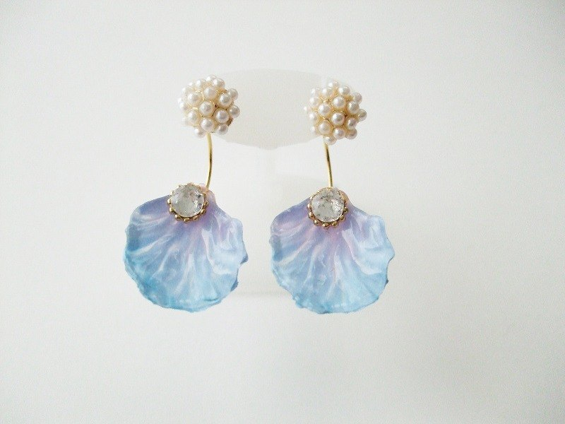 2way flower swarovski earrings blue