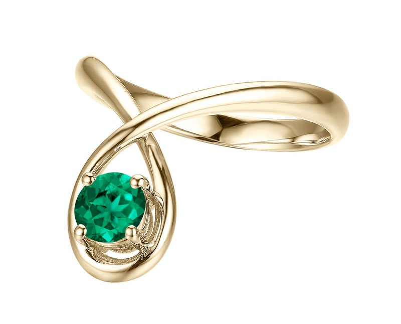 14k gold simple emerald ring. Diamond alternative engagement and wedding ring