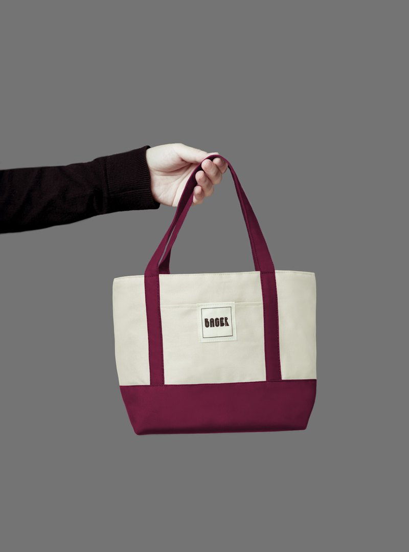 Classic color matching small tote bag / tote bag / lunch bag / beige + berry wine red