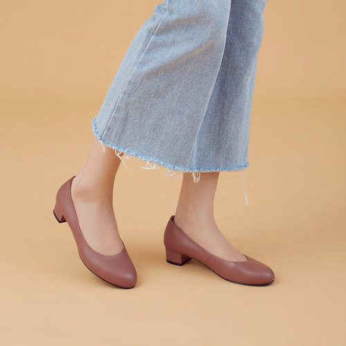 Do not wear feet! Rose Brown - Soft Sheepskin Low Heels Full Leather