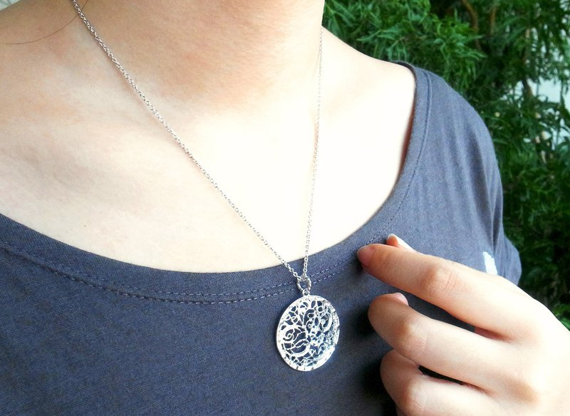 Silk flower big round pendant necklace 925 sterling silver