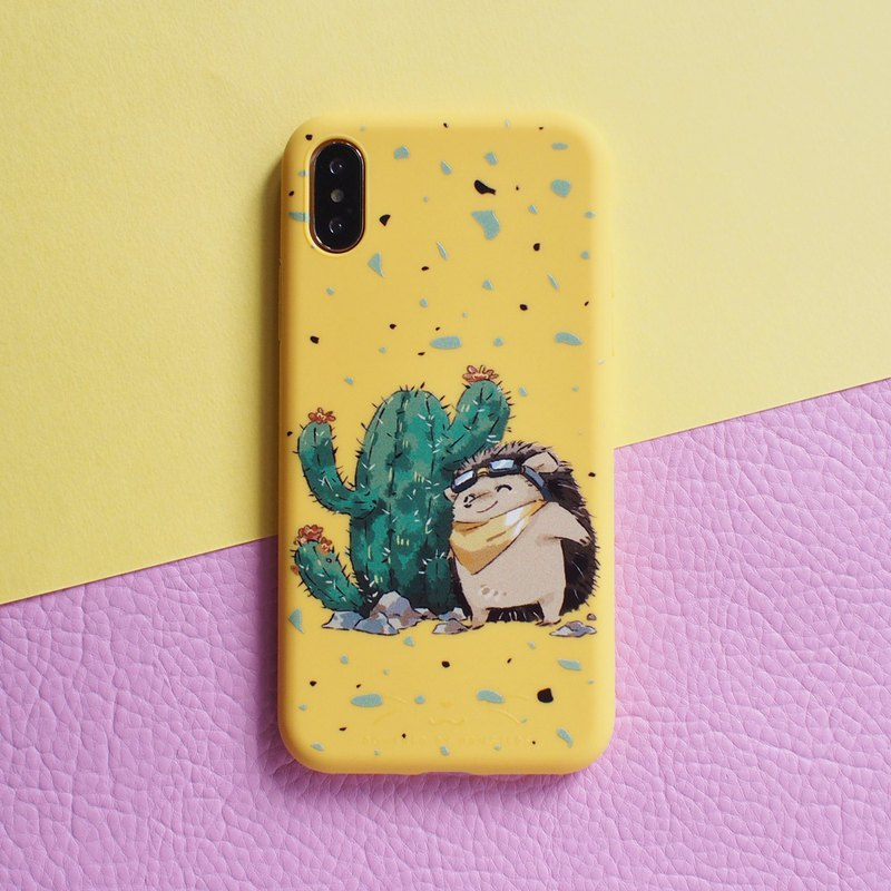 iPhone compatible smartphone case, hedgehog and cactus