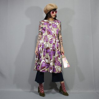 (Free shipping) Made in Japan (Vintage dress) Khaki Large flowers Made in Japan F3207