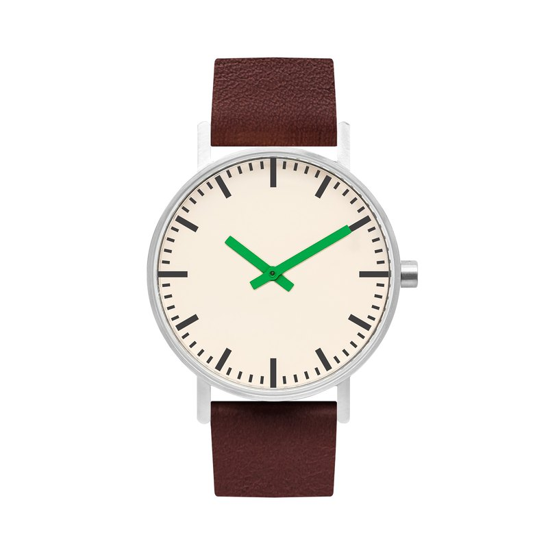 BIJOUONE B50 series watch green pointer brown leather strap simple waterproof personality design for men and women