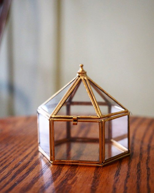 Manual Brass Hexagonal Glass Box L