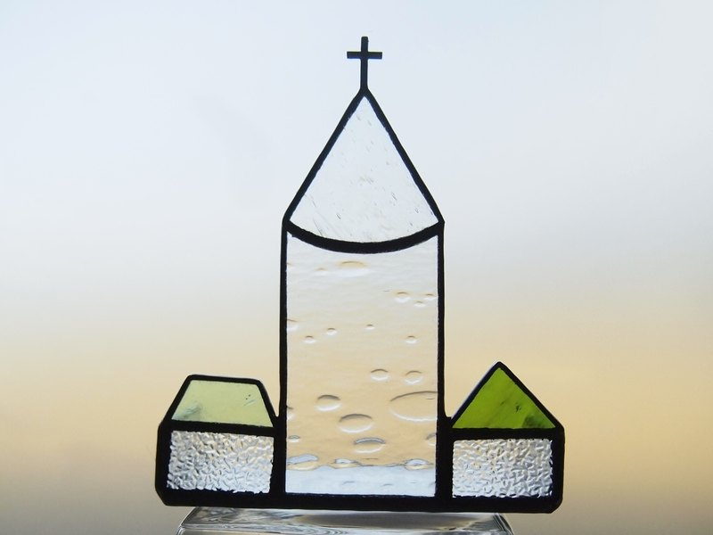 City with wine Muscat candle holder · church · stained glass