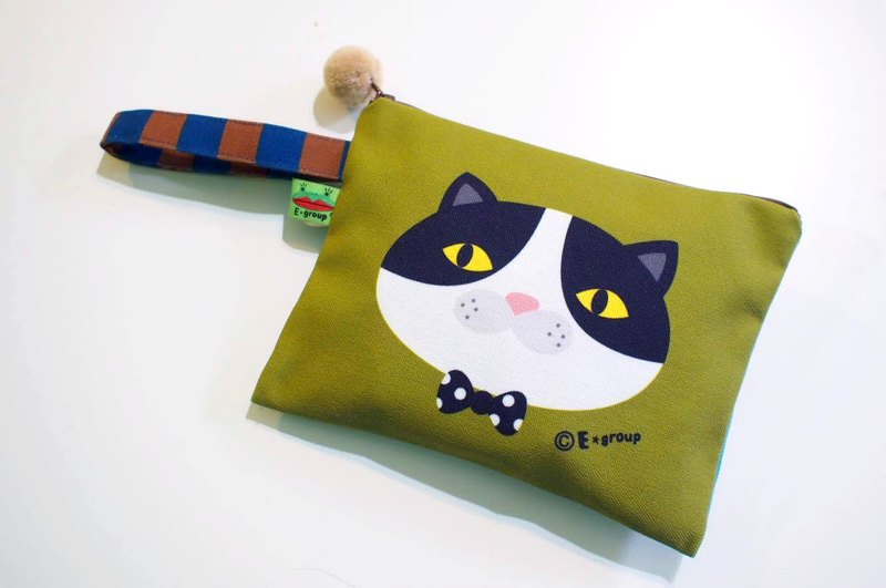 E * group portable square bag black and white meow coffee matcha double-sided design storage bag cosmetic bag