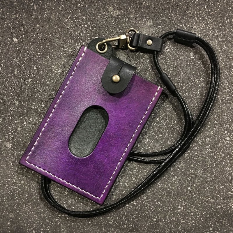 Pull-out certificate set + telescopic neck rope - vegetable tanned deep purple + black MRT card set student card can be