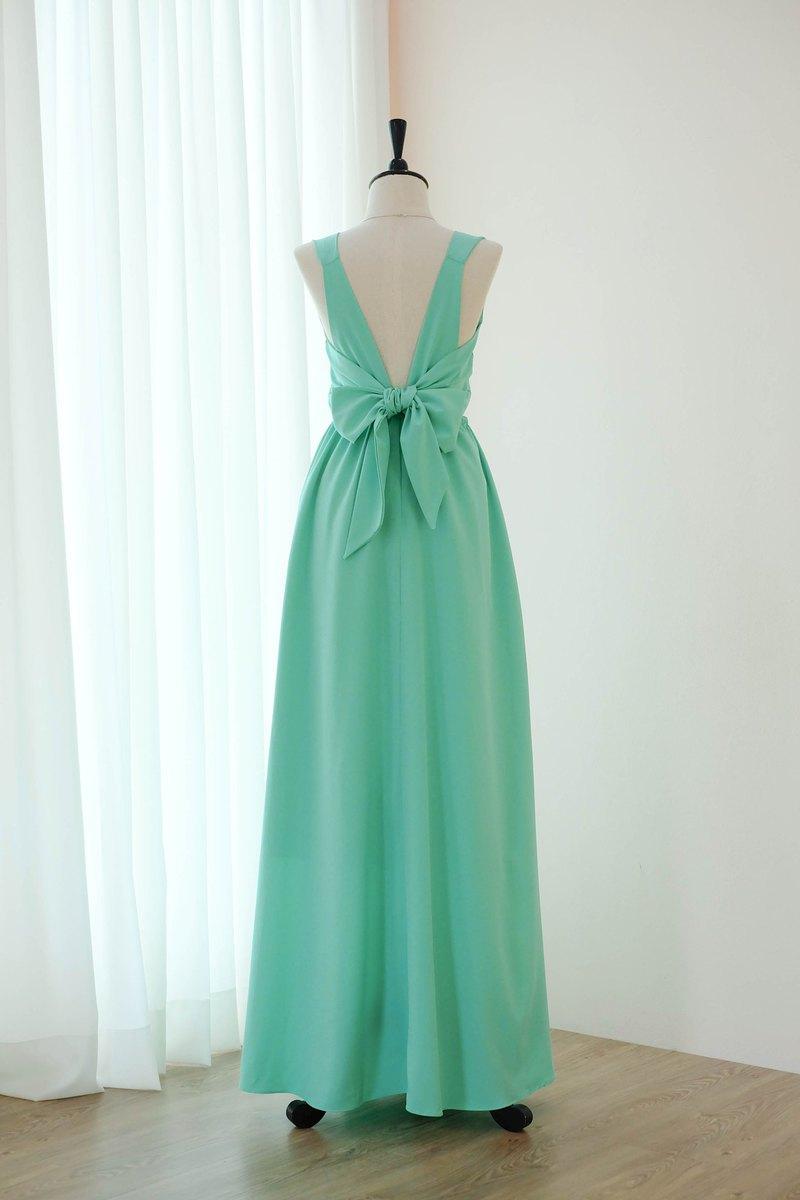 Mint Green Bridesmaid連衣裙露背派對雞尾酒禮服