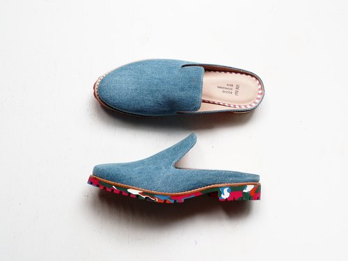 Love flower blessing drag - denim + color soles