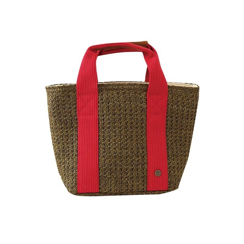 BISQUE / Weaving Insulation Bag - S / Brown-red