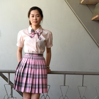[Chinese and American Brand Uniforms] - Sanyi High School * British Wind Pink Plaid Uniform (Selling Tops and Skirts)