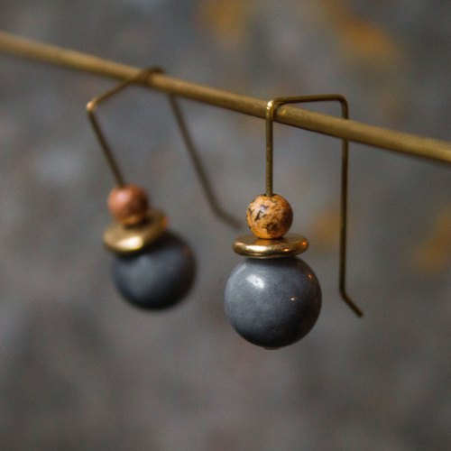 Rectangular wooden jade marble earrings