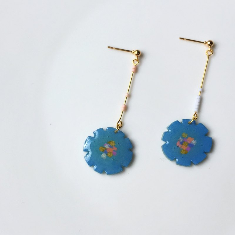 Smurf Flower Clip/Pin Earrings