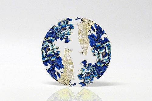 Limited edition hand painted blue and white porcelain peacock blue series round absorbent cup