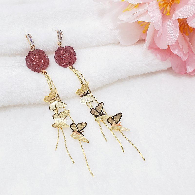 Natural Strawberry Crystal Peony Butterfly Tassel Wealth Lucky Peach Blossom Love Earrings Only This One