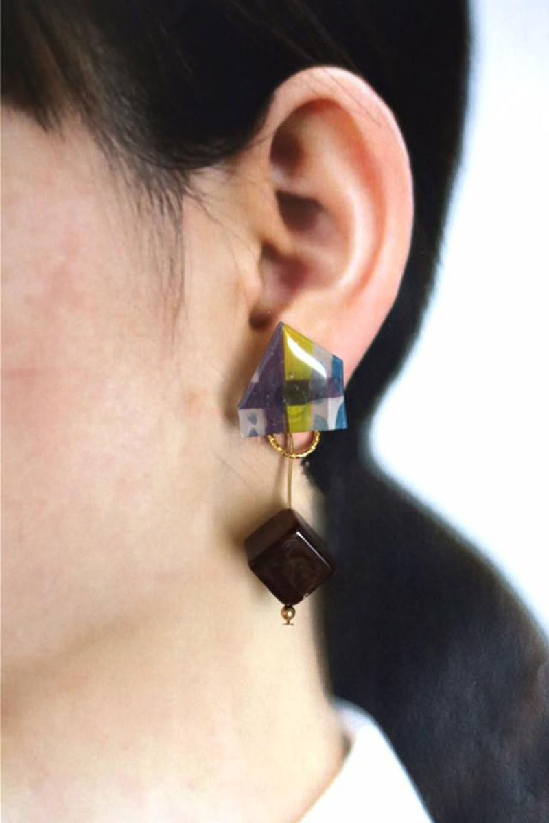Irregular Changes in Rome - Hand-painted Ear Earrings (Pure Tremella Needles)