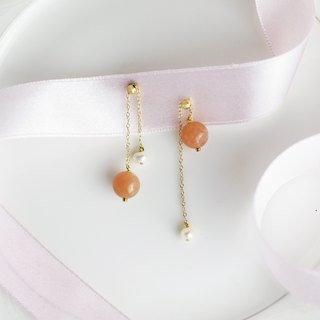SUNSTONE BELL EARRING 太陽石珍珠耳環