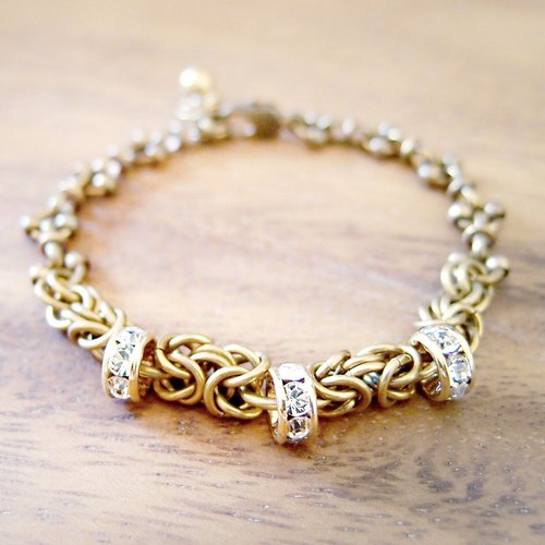 ♦ ViiArt ♦ ♦ zircon diamond ear closed brass bracelet