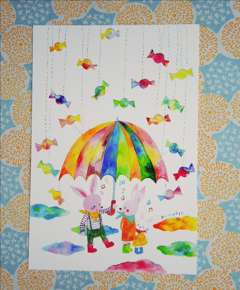 Four Seasons Postcard Sweetheart candy umbrella rain