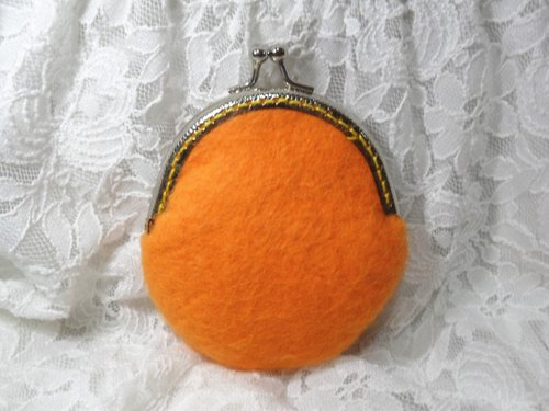 Christmas gifts send ♥ spot. Pure wool felt [orange Story - 100 percent feel the temperature change purse mouth gold]