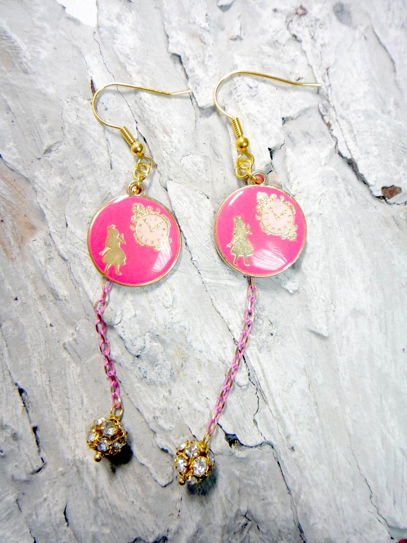 TIMBEE LO clock rabbit earring Alice in Wonderland ALICE WONDERLAND one pair of fluorescent pink << Offer >>