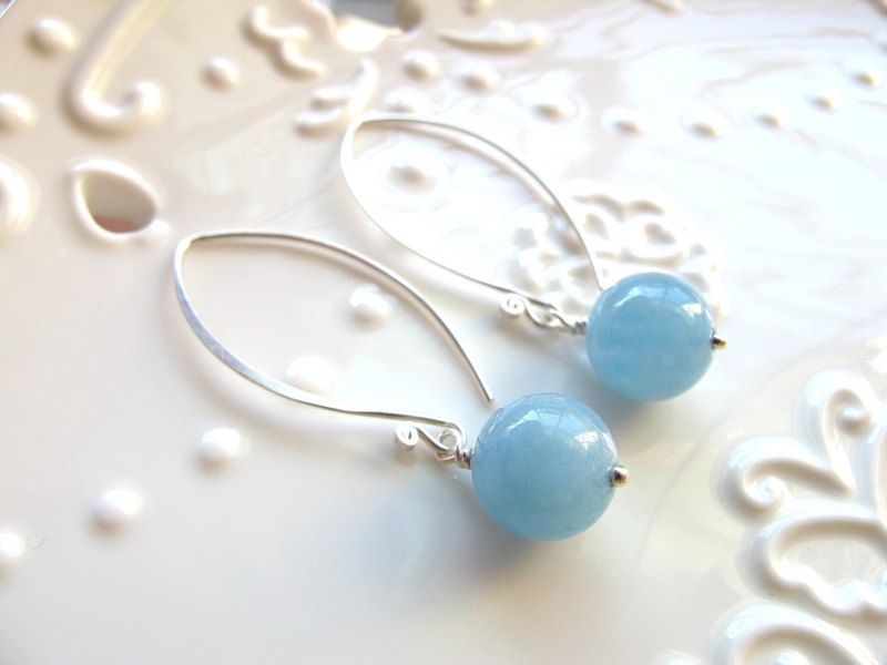 Seawater Sapphire x 925 Silver [Da Sugar Candy - Aquamarine] - Earrings