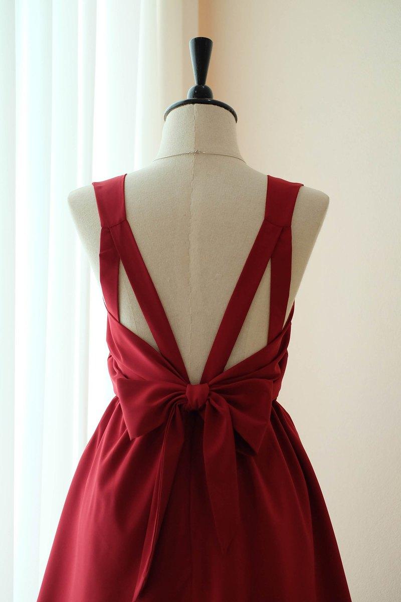 深紅色連衣裙伴娘禮服露背派對雞尾酒短禮服