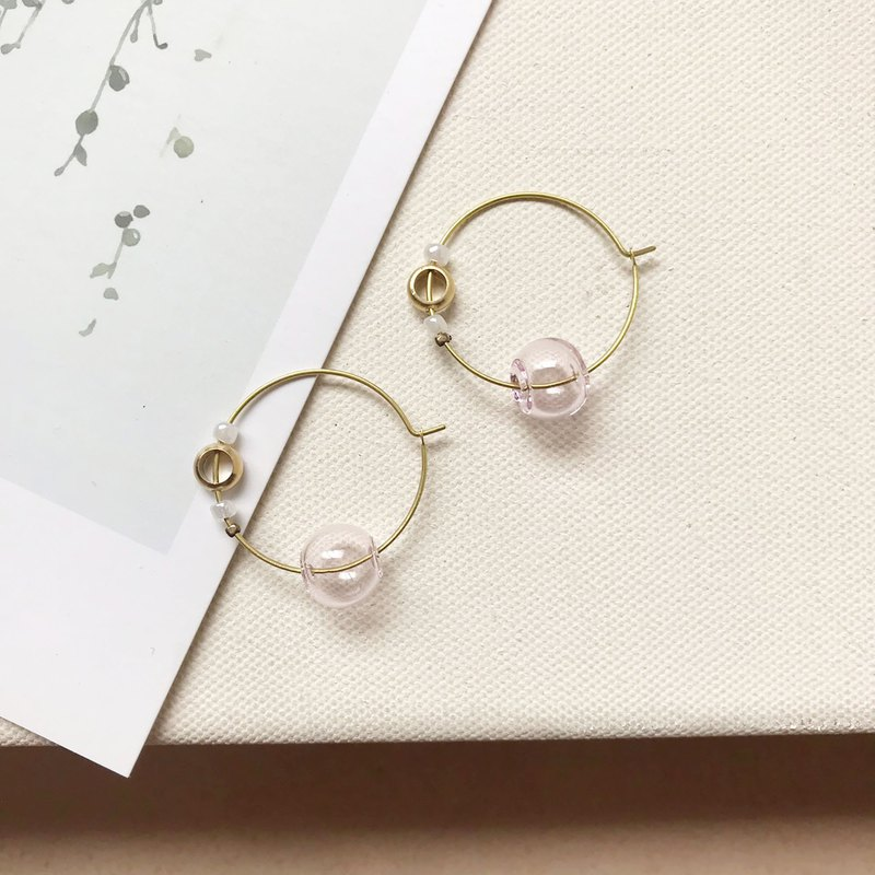 Exotic bubble _ brass earrings _ ear pin _ tender pink