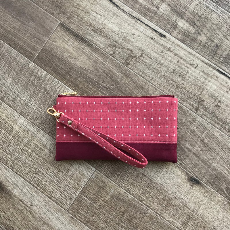 Red velvet suede cotton carry-on mobile phone bag clutch bag