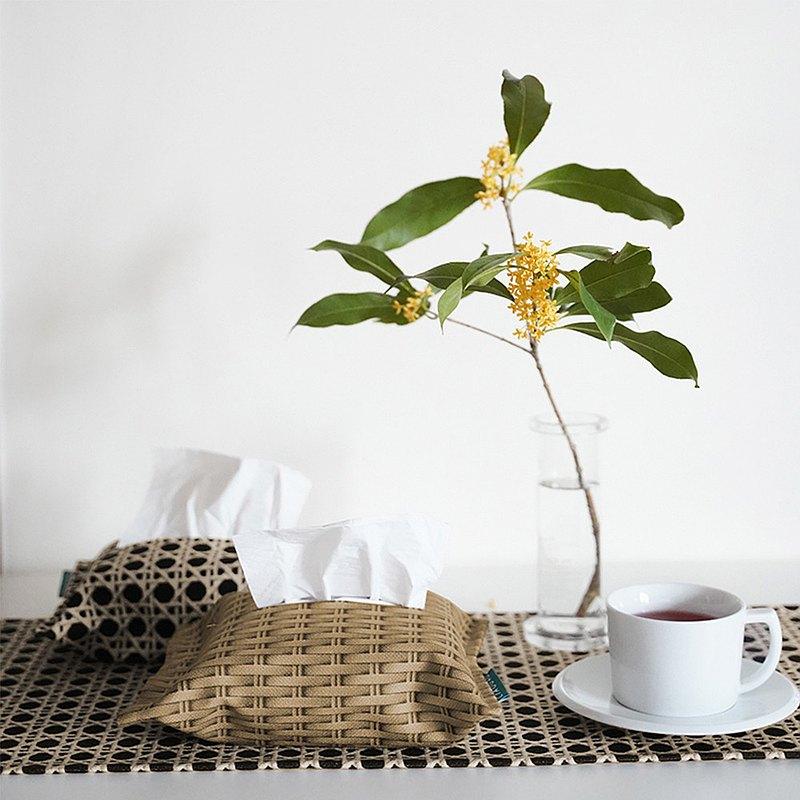 新中式紙巾盒布藝客廳臥室酒店復古ins美式藤編餐桌家用抽紙盒