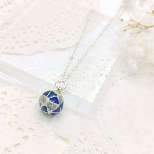 Painted Glass ball Necklace (S) with Metal chain