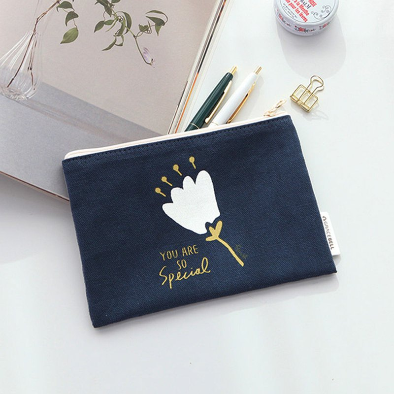 Flower flower cotton storage bag 02. Navy
